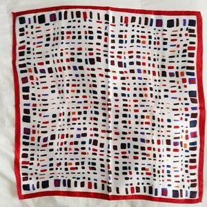 3/$15 Red & Blue Pattern Silk Scarf NWT
